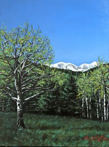 "Aspens Spring II by Mary Ellis LaGarde, Oil on Canvas, 18"" X 24"""